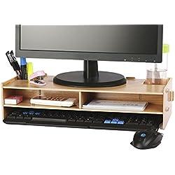azlife elevador de Monitor de escritorio soporte de monitor, de madera y organizador de escritorio, con ranuras para suministros de oficina y espacio de almacenamiento para teclado y ratón, amplia pantalla elevador para Monitor del ordenador/portátil/TV/impresora