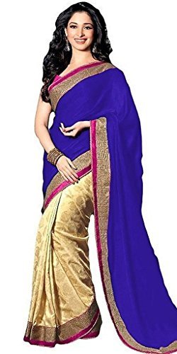 Saree For Women Latest Offers Party Wear Tamanna Blue Satin Beautiful Bollywood Saree with Blouse Piece  available at amazon for Rs.499