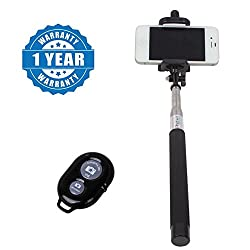 Drumstone Handheld Extendable Selfie Monopod Stick with Bluetooth Remote Wireless Shutter Compatible with All Smartphones (Assorted Colour, One Year Warranty)