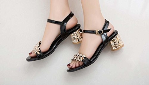 NobS Strass tacco medio Plus Size sandali 34-43Size Black