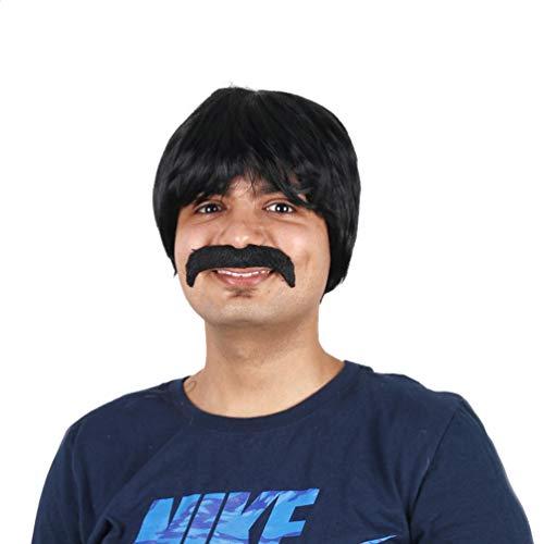 Perücke für Männer, kurze schöne kühle glatte Haare Perücke keine Spitze Erwachsene Männer 60er Jahre 70er Jahre 80er Jahre Halloween Kostüm Cosplay Karneval Kostüm (60er Jahre Halloween Kostüme Männer)