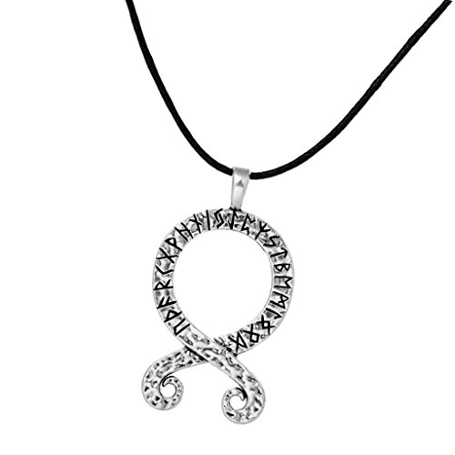 MagiDeal Ancient Norse Viking Allloy Troll Cross Runes Amulet Talisman Pendant Nylon Rope Chain Necklace