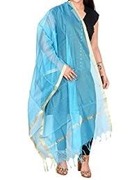 Amraoo Women's Chanderi Art Silk Plain Solid Golden Border Dupatta (Sky Blue)