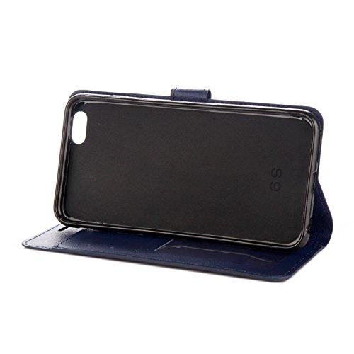 iPhone 5/5S Coque, Voguecase Étui en cuir synthétique chic avec fonction support pratique pour Apple iPhone 5 5G 5S SE (Rétro jaune)de Gratuit stylet l'écran aléatoire universelle Rétro bleu foncé