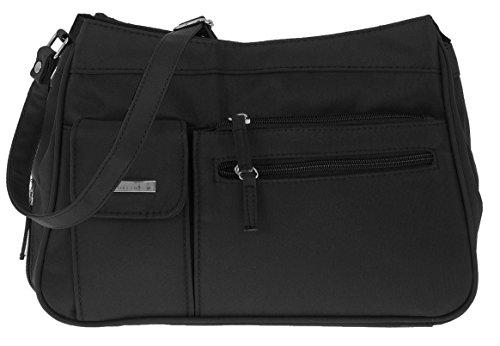 Handtasche ALESSANDRO SEVILLA Umhängetasche Schultertasche Damentasche Microfaser Tasche 4555 + Schlüßeletui (Balck-Schwarz) (Microfaser-handtasche Schwarze)