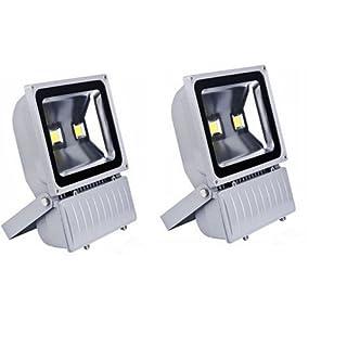 Faro LED 100W Kit 2Stück für Außen mit leistungsstarken Dual LED IP65A Kaltweiß Scheinwerfer Garten Leuchtturm mit Bühnen Beleuchtung Haus Beleuchtung Stand Leuchtturm in Aluminium Kaltlicht