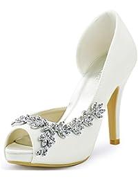 ElegantPark EP11045-IP Mujer Plataforma Peep Toe Tacón Aguja Arcos Satin Zapatos  De Boda Novia 3a21926cd498