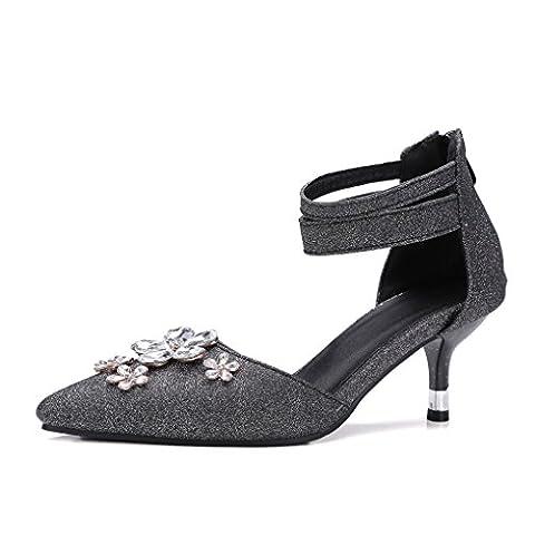 Oaleen Femme Escarpins Strass Bride Cheville Talon Moyen Chaussures Sandales Bout Pointu Noir 37