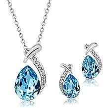 02b27e9cbd53 T400 Jewelers Conjuntos de Collar y Pendientes para Mujer Colgante de gota  de agua con Cristal
