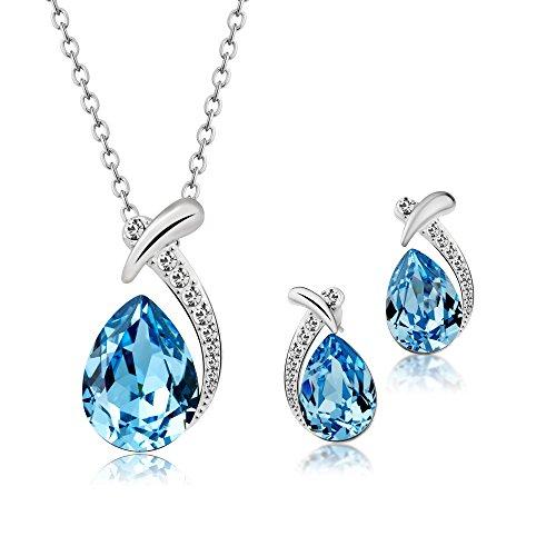 T400 Jewelers Conjuntos de Collar y Pendientes para Mujer Colgante de gota de agua con Cristal de SWAROVSKI Elements Azul,38+5cm