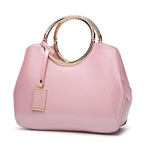 YANX delle donne eleganti di Shell forma di design Borse Tote Sera borsa (28 * 10.5 * 22 centimetri) , black Pink
