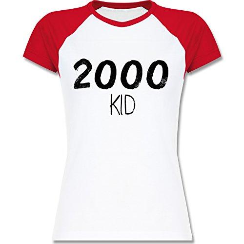Geburtstag - 2000 KID - zweifarbiges Baseballshirt / Raglan T-Shirt für Damen Weiß/Rot