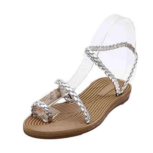 Transer ® Sandales d'été pour femmes maison plage chaussures plates Argent