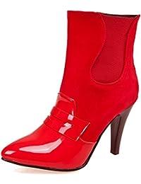 Allegra K Damen Spitzschuh Stiletto Hoch Absatz Chelsea Stiefel, Rot/EU 37.5