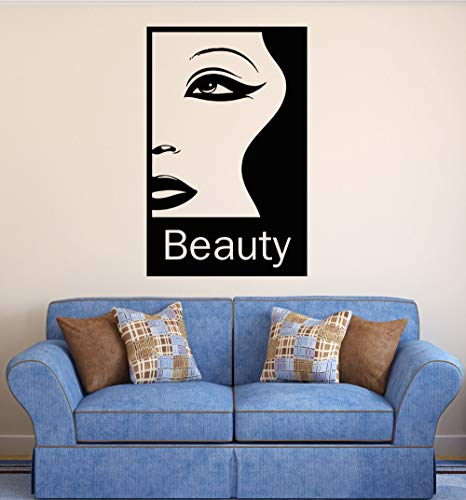 zhuziji Girl Beauty Salon Wall Decal Quote Beauty Woman Hair Eyes Lips Vinilos Decorativos DIY Livingroom Applicable Wall Sticker 86x135cm -