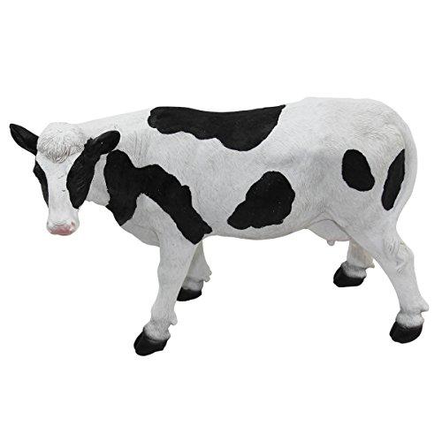 1PLUS Polyresin Figuren Mini Kuh mit Flecken für den Garten, handbemalt Kunstharz Gartendekoration