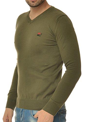 M.Conte Herren Pulli Pullover Cardigan Modell Vinayo Slimfit Military Olive Grün