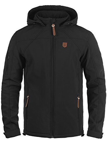INDICODE Jonas Herren Softshell-Jacke Outdoor Übergangsjacke mit Kapuze aus winddichtem und hochwertigem Material, Größe:XXL, Farbe:Black (999)