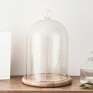 cristal: Campana de Cristal Alta 19cm con Base de Bambú de Lights4fun
