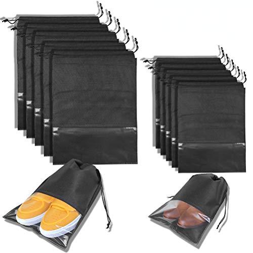 OFNMY Schuhbeutel Transparente Schuhtasche Set Wasserdichter Tragbarer Staubdichter Schuhsack für Reise und Zuhause(10 Stück, 2 Maße)