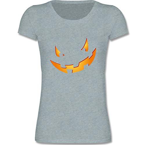Anlässe Kinder - Kürbisgesicht klein Pumpkin - 122-128 (7-8 Jahre) - Blau/Grau meliert - F288K - Mädchen T-Shirt
