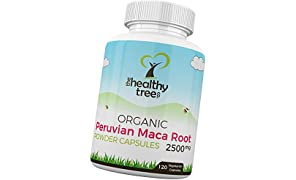 Organic Maca Capsules by TheHealthyTree Company - High Strength 2500mg per Capsule, Pure Maca Root Powder Capsules