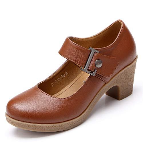 Damen Pumps Lateiner Modern Dance Kleid Retro High Heels Schuhe Pumps für quadratische Ferse