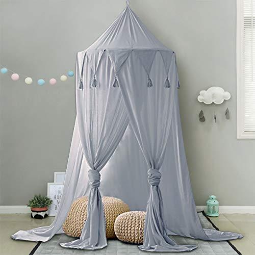 Minetom Betthimmel für Kinder Baby Baldachin Spielzimmer Fotografieren rund Höhe 240cm Prinzessin Chiffon hängende Moskitonnetz für Schlafzimmer Dekoration für Bett und Schlafzimmer (Grau)