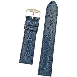 Hirsch Croco Grain Leather Watch Strap M , Blue, Steel Buckle, 14mm