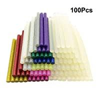 100pcs Hot Glue Sticks 7mm x 100mm for 20W Hot Melt Glue Gun, Ustation 50Pcs Ultra Clear and 50Pcs Glitter Hot Melt Glue Adhesive Sticks for DIY Art Craft & Sealing and Quick Repair, 11 Colors