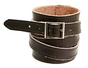 Soft Dark Brown Leather Wide Cuff Wrap Around Wristband Bracelet Buckle Fastening - 08