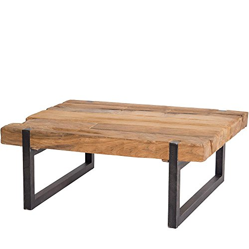 Meuble Passion Table Basse Industrielle Teck et métal recyclés 120x60cm rectangulaire