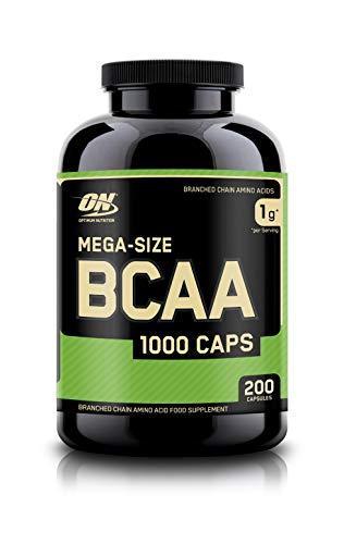 Optimum Nutrition BCAA 1000- Verzweigtkettige Aminosäuren (L-Leucin, L-Isoleucin und L-Valin, BCAA Ergänzungsmittel von ON) Unflavoured, 100 Portionen, 200 Kapseln -