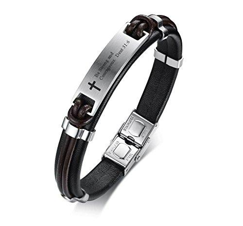 PJ JEWELRY Seien Sie stark und mutig. Alter 31: 6 Inspirierende Christian Bibe Vers Armband, religiöses Geschenk