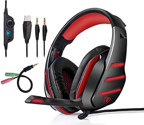 qka cuffie da gioco per pc cuffie da gioco professionali con microfono e auricolari stereo ultraluminati a led con isolamento acustico da 3,5 mm per xbox one/x laptop tablet e ps4,red