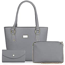 Mimisku handbag set with handbag, sling bag and wallet (grey)