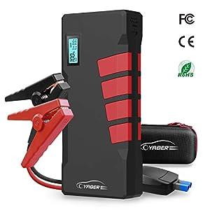 Starthilfe Powerbank, YABER 1000A 20800mAh Auto Starthilfe mit LED Taschenlampe, LCD Display, QC3.0 Ausgang, Typ C Anschluss für Laptop, Smartphone