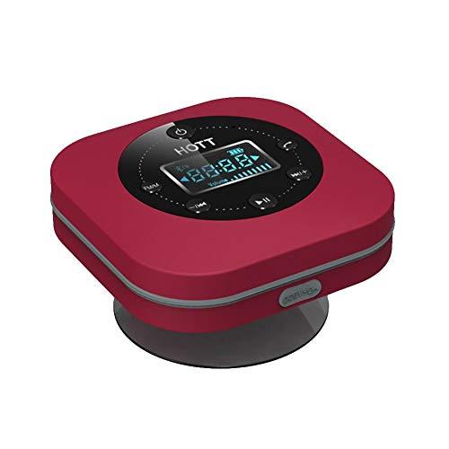 GONGFF Bad Wecker Schallabsorption Tragbare wasserdichte Bluetooth-Lautsprecher Radiowecker-Anzeige, rot