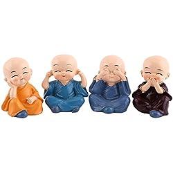 Estatua de 4 Monjes Estatuilla de Monjes de Suerte Estatuilla de Buda de Decoración para Hogar Coche Regalo de Fiesta