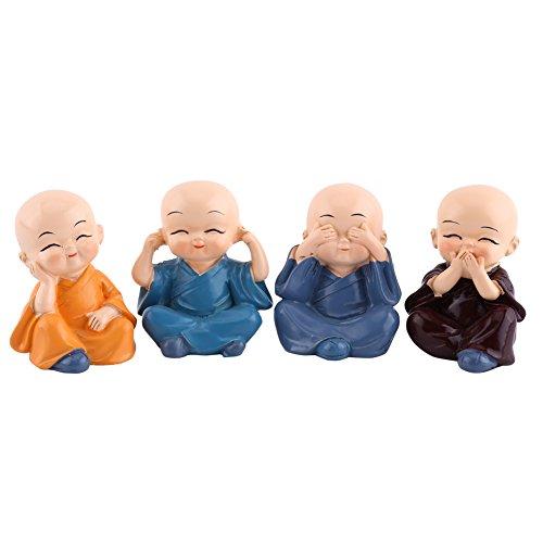 4 Mönche Figur Statue, niedliche kleine Mönche hören nichts Böses sehen kein Übel sprechen kein Übel tun kein ÜbelStatue Reichtum Glück Figur Home Baby Buddha Dekor Geschenk