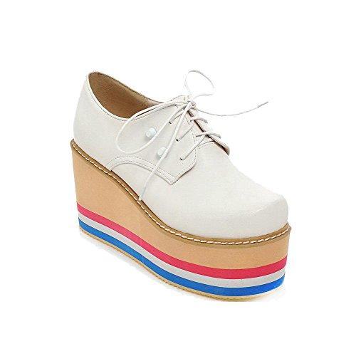 AllhqFashion Damen Pu Schnüren Rund Schließen Zehe Hoher Absatz Pumps Schuhe Weiß