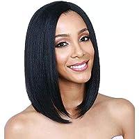 باروكة صناعية قصيرة ستايت مع شعر صغير مفرود بدون لاصق من الأمام، شعر بشري ريمي برازيلي مسبق اللصق.