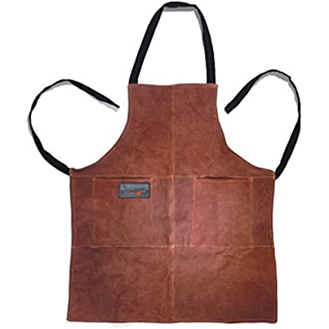 Outset Grilling BIB/APRON Flame-retardant Leather with Pockets