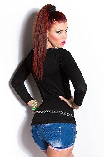 Sexy Longsleeve Shirt mit Knopfleiste Koucla by In-Stylefashion SKU 0000T118701 Schwarz
