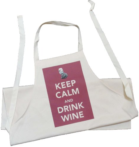 Keep Calm and Drink Wine - Adult Apron - Natural (Cream) Cotton Drill