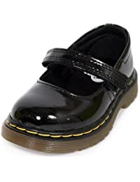Dr Martens - Kids Tully Mary Jane Bar Shoes in Black Patent