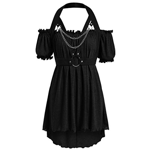 Schwarze Totenkopf Handtasche (QinMM Frauen Retro 1950er Jahre Stil Kurzarm formale Größe Retro Schulter Tau Kleid)