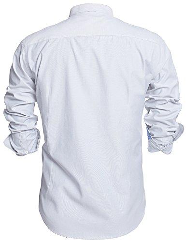HOTOUCH Herren Langarmhemd Slim Fit Basic Hemd Oberhemd Button Down Hemd Mit Manschetten Pflegeleicht Typ1_Weiß