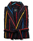 Savile Row Company Men's Black Multi Stripe Super Soft Dressing Gown XXL