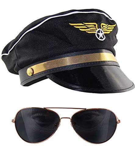 Pilot Kostüm Set - Bad Taste 80er Kostüm Set Pilot mit Mütze und Piloten Sonnenbrille für Fasching Karneval Mottoparty Junggesellenabschied